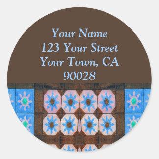 etiquetas de endereço do azulejo do marrom azul adesivo