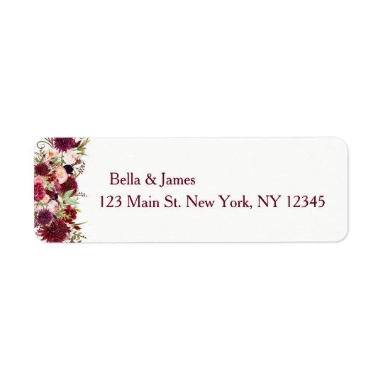 Etiquetas de endereço do remetente florais