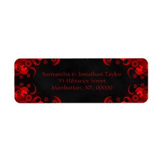 Etiquetas de endereço do remetente florais pretas etiqueta endereço de retorno