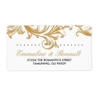 Etiquetas de endereço florais do casamento do ouro