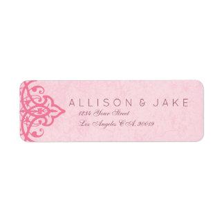 Etiquetas de endereço ornamentado cor-de-rosa do