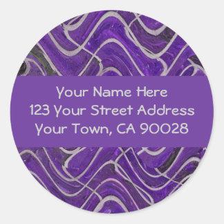 etiquetas de endereço roxas e cinzentas adesivo