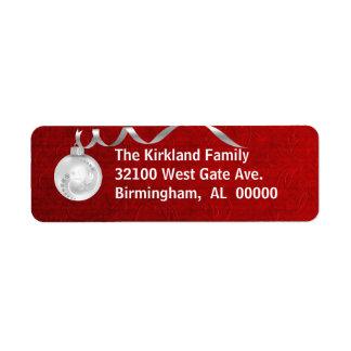 Etiquetas de endereço vermelhas & brancas festivas etiqueta endereço de retorno