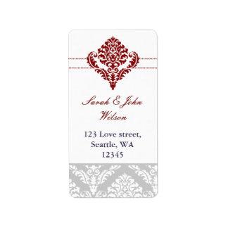 etiquetas de endereço vermelhas do damasco