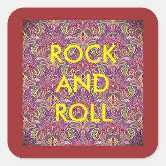 Etiquetas de Paisley do rock and roll Adesivo Quadrado