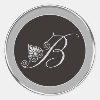 Etiquetas de prata do monograma: B inicial Adesivo