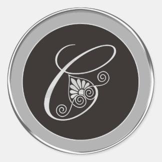 Etiquetas de prata do monograma: C inicial Adesivo