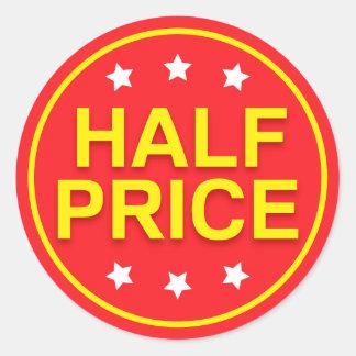Etiquetas de varejo da venda de meio preço, as adesivo