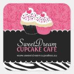 Etiquetas decorativas do frasco do cupcake do impr adesivos quadrados