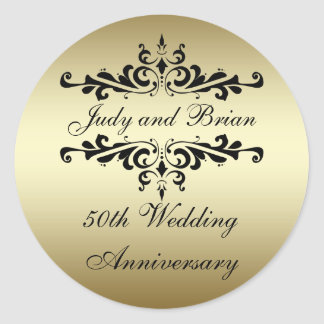 Etiquetas do aniversário de casamento do preto do adesivo