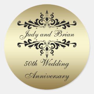 Etiquetas do aniversário de casamento do preto do adesivos redondos