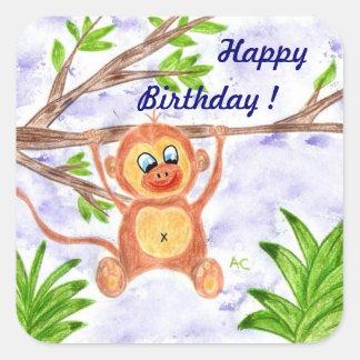 Etiquetas do aniversário do macaco da selva adesivo quadrado