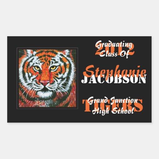 Etiquetas do anúncio da graduação dos tigres adesivo retangular