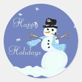Etiquetas do azul do boneco de neve do Natal Adesivo