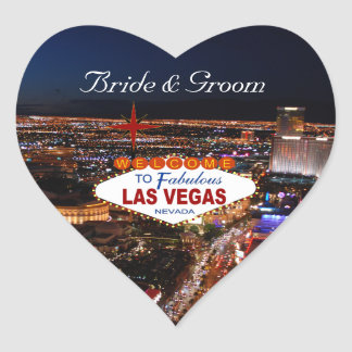 Etiquetas do casamento da tira de Las Vegas Adesivo Coração