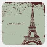 Etiquetas do casamento da torre Eiffel Adesivos Quadrados