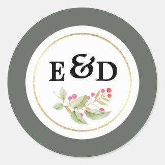 Etiquetas do casamento do monograma do design do
