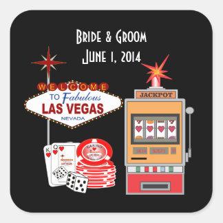 Etiquetas do casamento do preto do estilo de Vegas