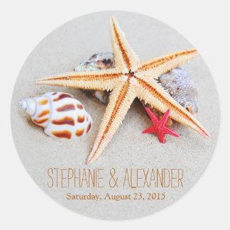 Etiquetas do casamento do Seashell da estrela do
