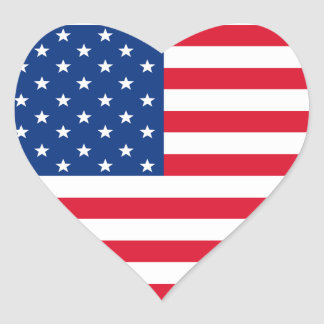 Etiquetas do coração da bandeira americana adesivo coração