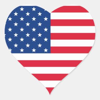 Etiquetas do coração da bandeira americana adesivo de coração