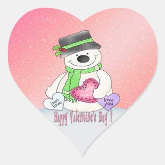 Etiquetas do coração do boneco de neve do dia dos adesivo em forma de coração