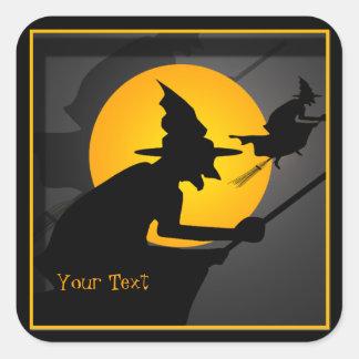 Etiquetas do Dia das Bruxas da bruxa do vôo Adesivo Quadrado