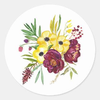 Etiquetas do envelope floral da aguarela