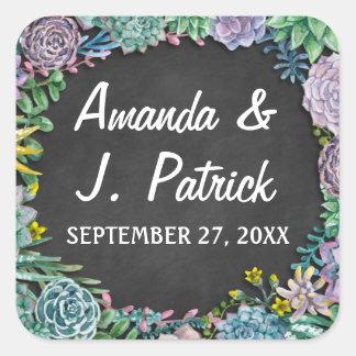 Etiquetas do favor do casamento do Succulent e do Adesivo Quadrado