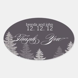 Etiquetas do favor do casamento no inverno das adesivo oval
