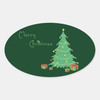 Etiquetas do Feliz Natal Adesivo Oval