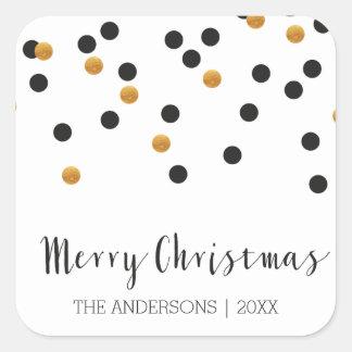 Etiquetas do Feliz Natal do preto & do ouro dos Adesivo Quadrado