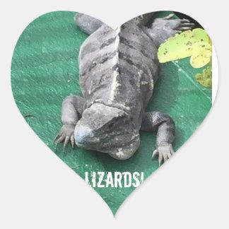 Etiquetas do lagarto adesivo coração