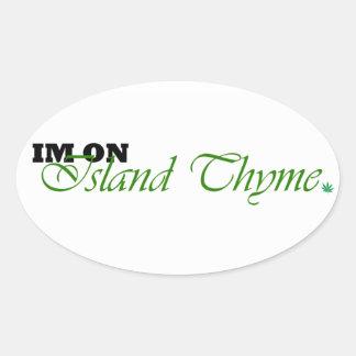 Etiquetas do logotipo do tomilho da ilha adesivos em formato oval