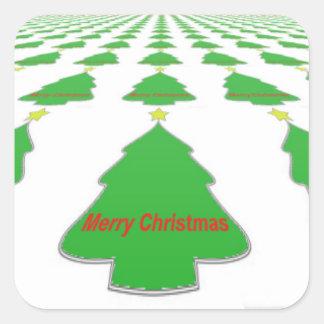 Etiquetas do Natal da árvore de Natal: Feliz Natal Adesivo Quadrado