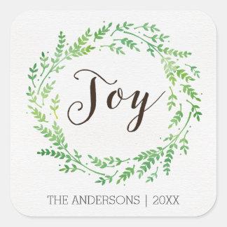 Etiquetas do Natal da grinalda da aguarela da Adesivo Quadrado