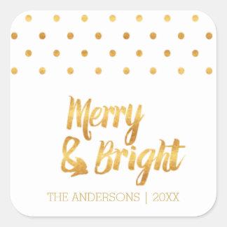 Etiquetas do Natal das bolinhas do ouro Adesivo Quadrado