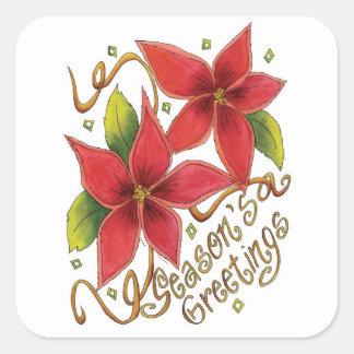 Etiquetas do Natal das poinsétias dos cumprimentos Adesivo Quadrado