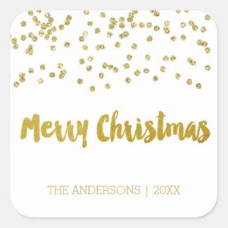 Etiquetas do Natal do brilho do ouro do Feliz Adesivo Quadrado