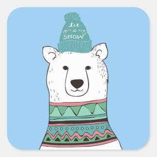 Etiquetas do Natal do urso polar Adesivo Quadrado