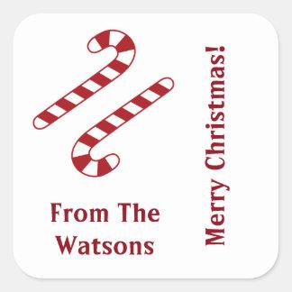 Etiquetas do Natal dos bastões de doces Adesivo Quadrado