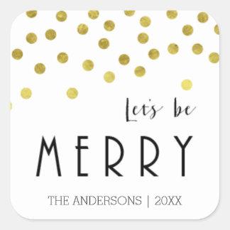 Etiquetas do Natal dos confetes do ouro Adesivo Quadrado