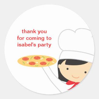 Etiquetas do party girl da pizza adesivo
