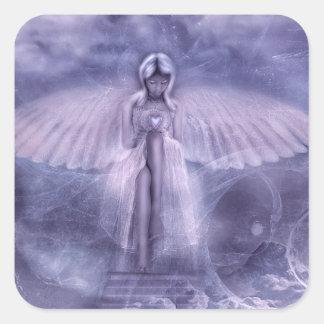 Etiquetas do quadrado do coração do anjo adesivo quadrado