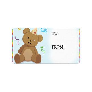 Etiquetas do urso do aniversário do arco-íris etiqueta de endereço