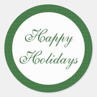 Etiquetas do verde boas festas adesivo redondo