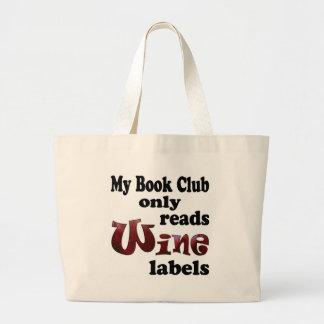 Etiquetas do vinho do clube de leitura bolsas de lona