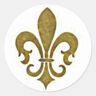 Etiquetas douradas francesas da flor da flor de li adesivos em formato redondos