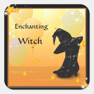 Etiquetas Enchanting do costume da bruxa do Dia