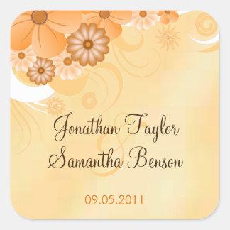 Etiquetas florais do favor do casamento do adesivo quadrado